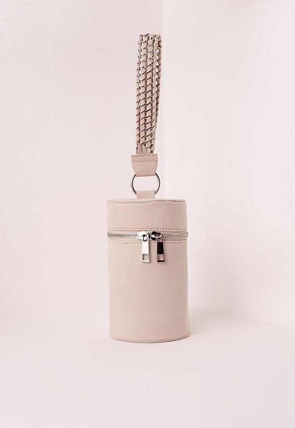 Chain Handle Cylinder Clutch Bag