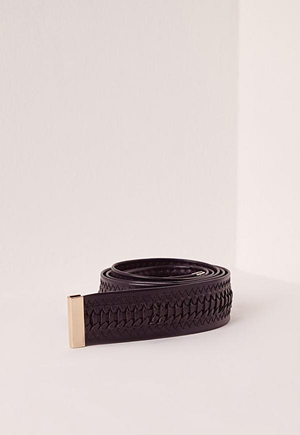 Twist Plaited Tie Belt Black