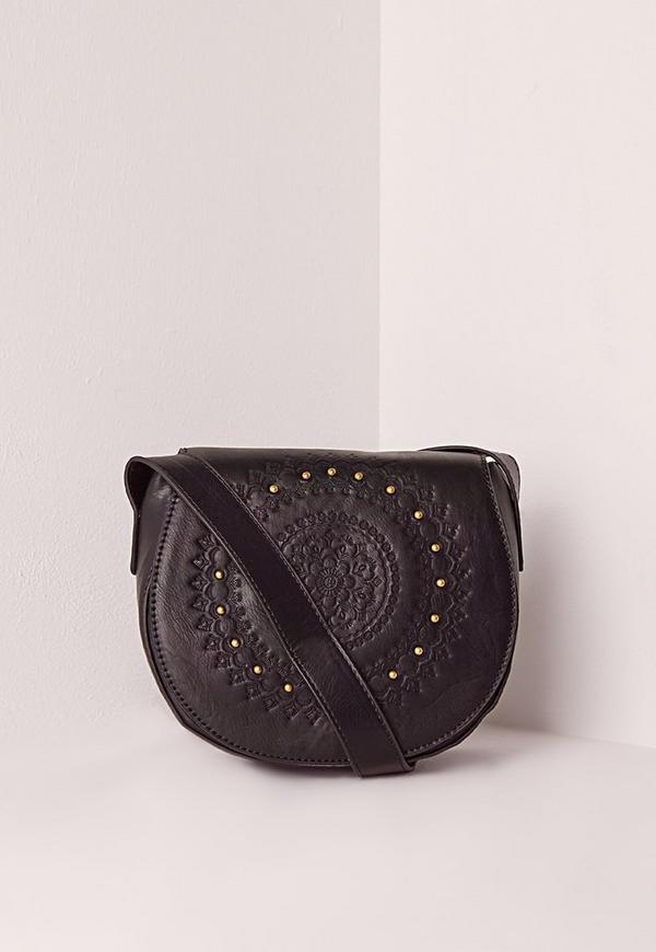 Studded Saddle Bag Black