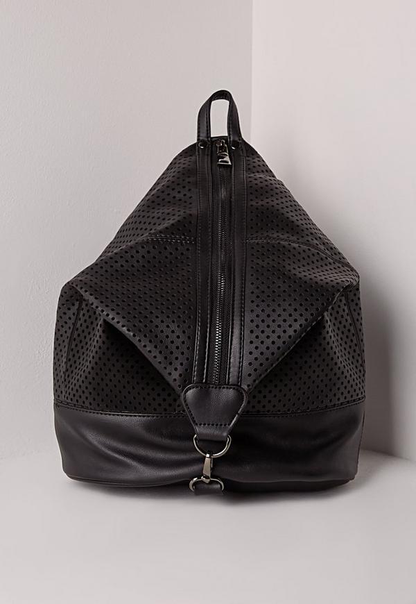 Zip Detail Rucksack Black