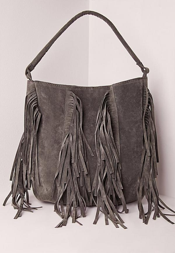 Multi Fringe Tote Bag Grey