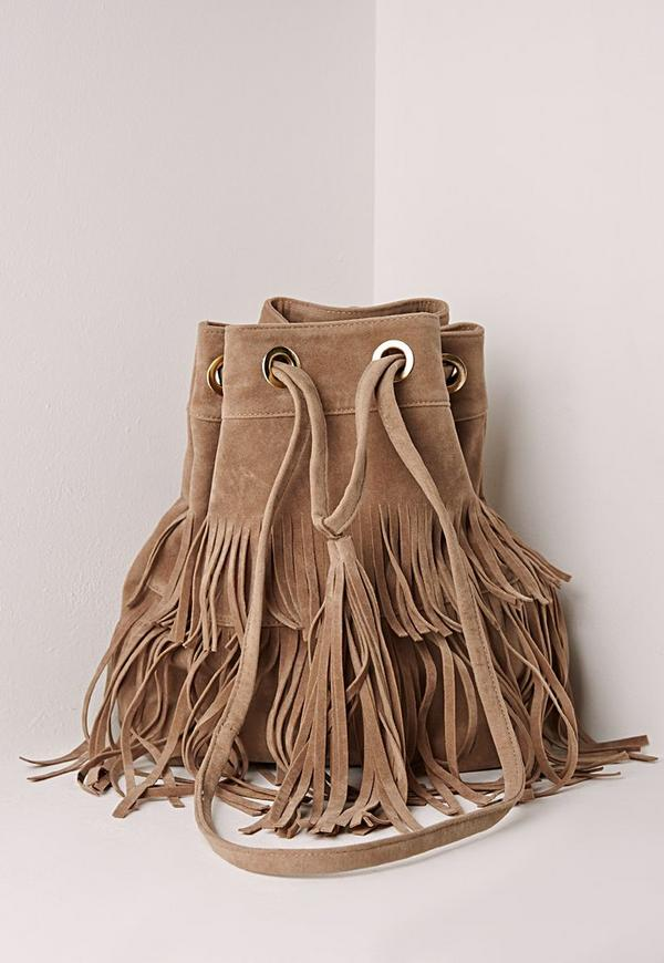 layered tassel bucket bag nude
