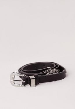 Tooled Metal Detail Silver Buckle Belt Black