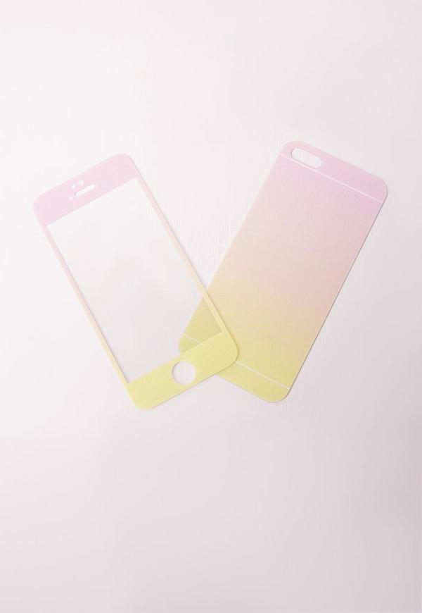 iphone 6+ ombre glitter phone screen protector pink