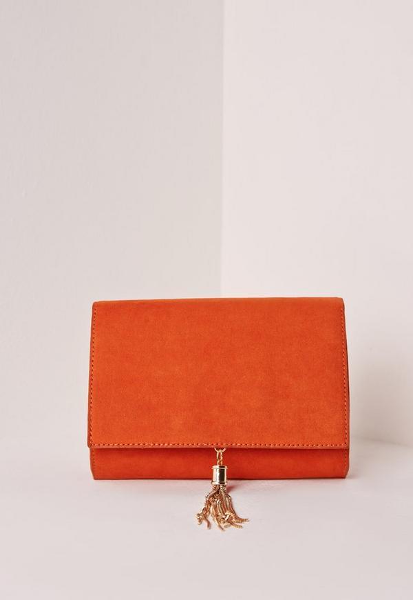 Mini Tassel Clutch Bag Orange