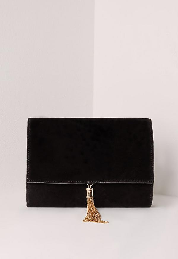 Mini Tassel Clutch Black