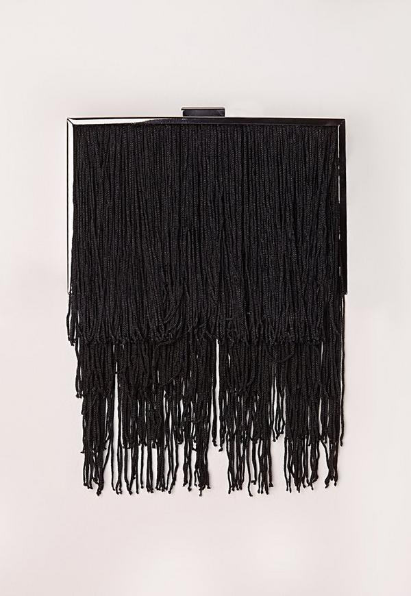 Fringe Box Clutch Black