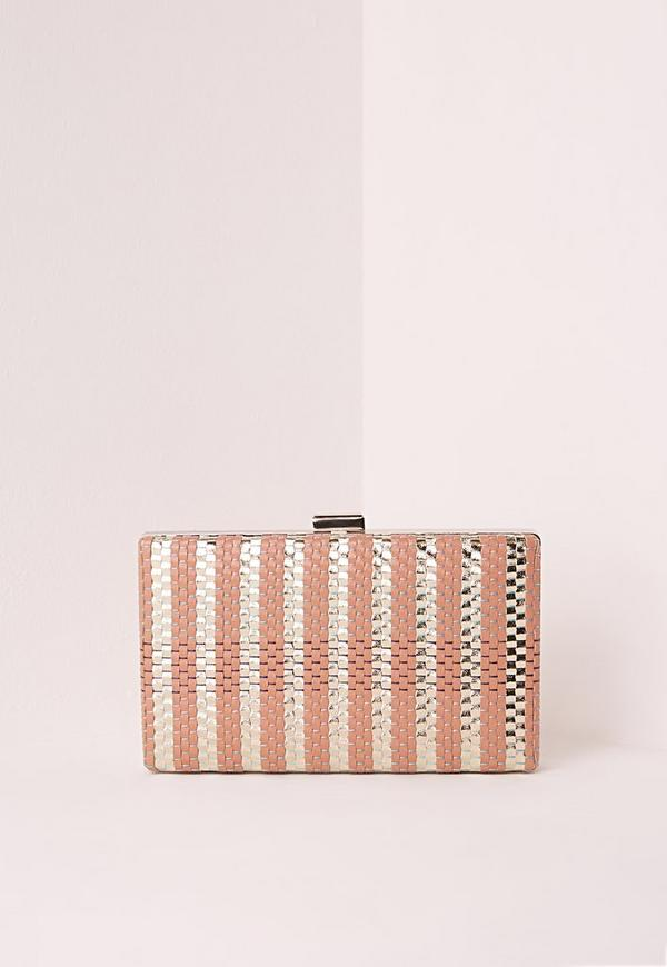 Woven Detail Box Clutch Bag