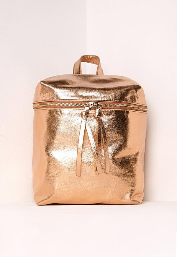 Metallic Textured Backpack Rose Gold