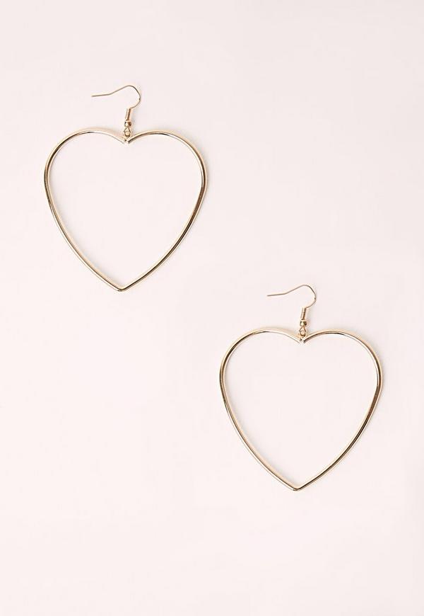 Heart Shape Hooped Earrings Gold