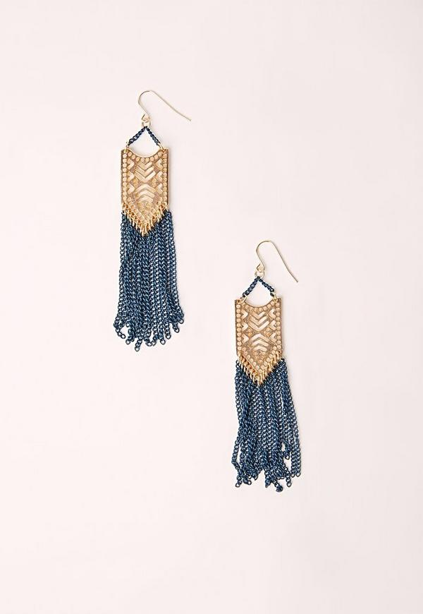 Ethnic Tassel Earrings Gold