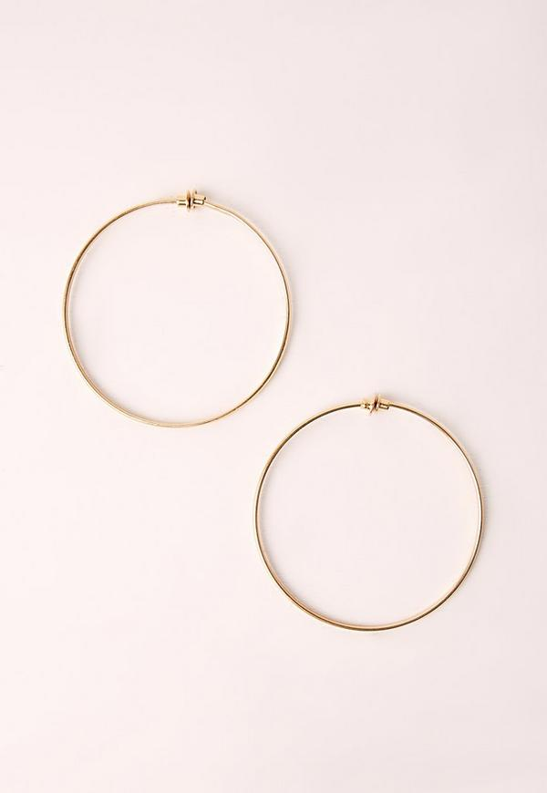 clip on classic hoop earrings gold missguided