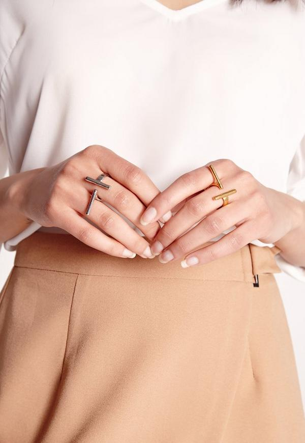 Two Pack Cross Finger Bar Ring Multi