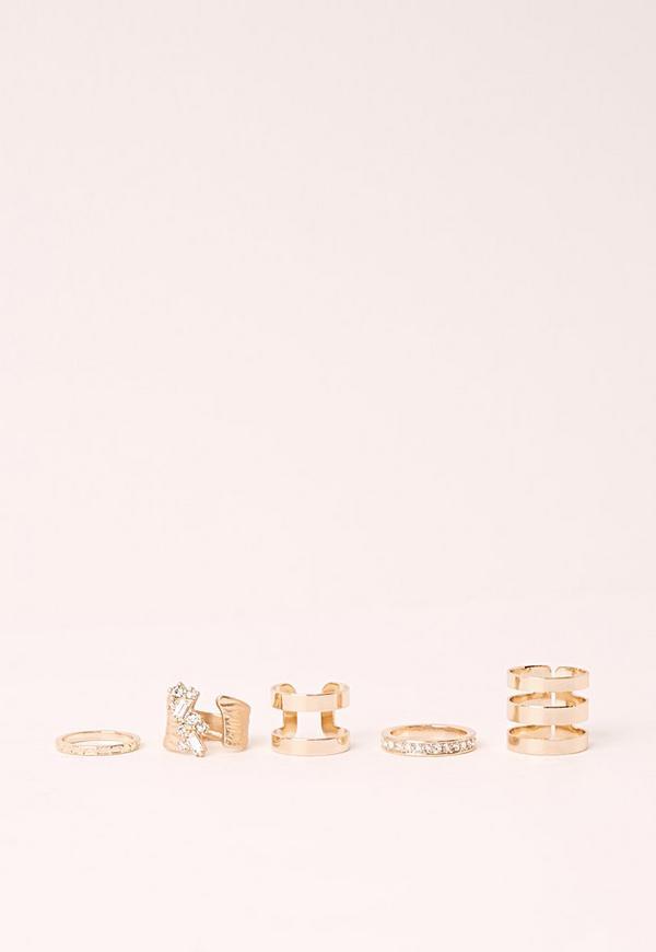Multi Pack 5 Ring Set Gold