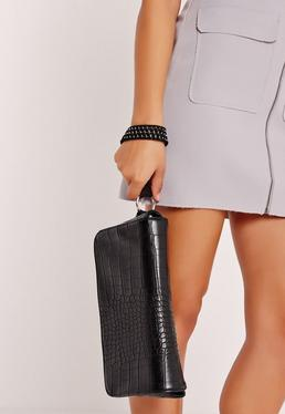 Black Croc Effect Wrist Strap Clutch Bag