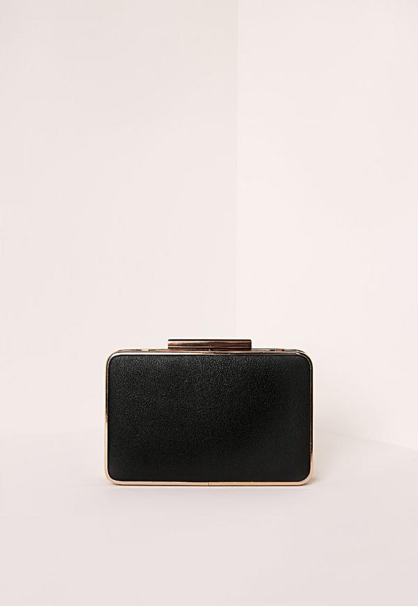 Metal Trim Box Clutch Bag Black