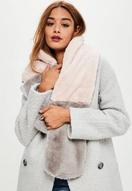 Pink & Grey Contrast Faux Fur Scarf