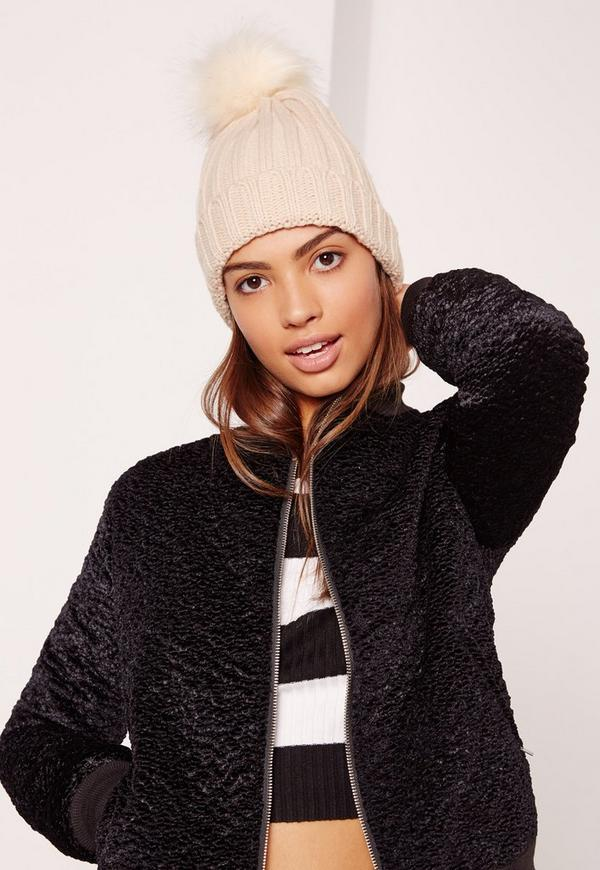 DON'T ENABLE JOBBERS Cream Faux Fur Pom Pom Beanie