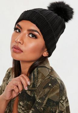Faux Fur Pom Pom Beanie Hat Black