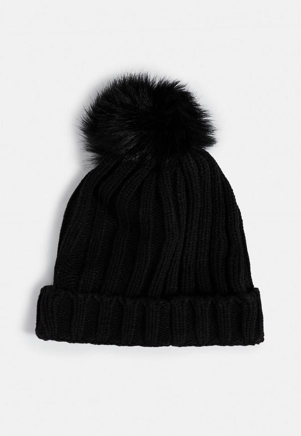 Black Faux Fur Pom Pom Beanie Missguided