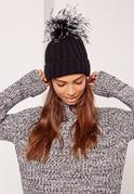 Black Feather Pom Pom Beanie