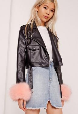Faux Fur Cuffs Pink