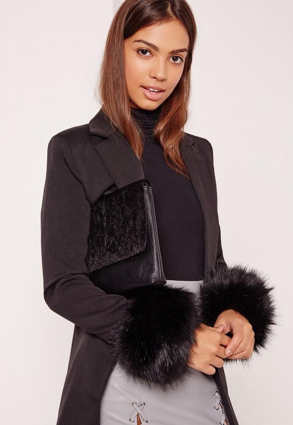 Faux Fur Cuffs Black