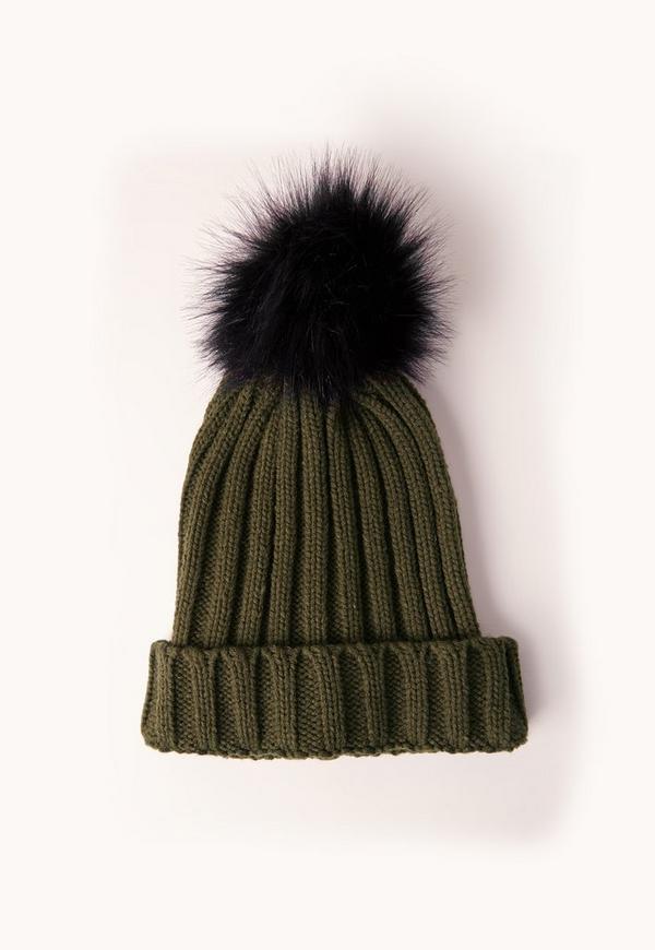 Khaki Contrast Faux Fur Pom Pom Beanie. €14.00. Previous Next a5e81e87b2d