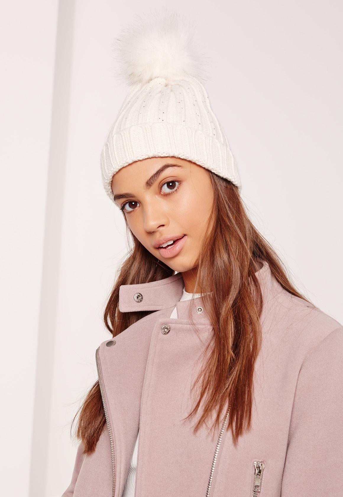 140ca1ce054 Cream Metallic Knit Faux Fur Pom Pom Beanie