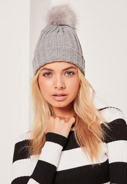 Grey Metallic Knit Faux Fur Pom Pom Beanie