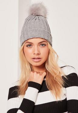 Grey Metallic Knit Faux Fur Pom Pom Beanie