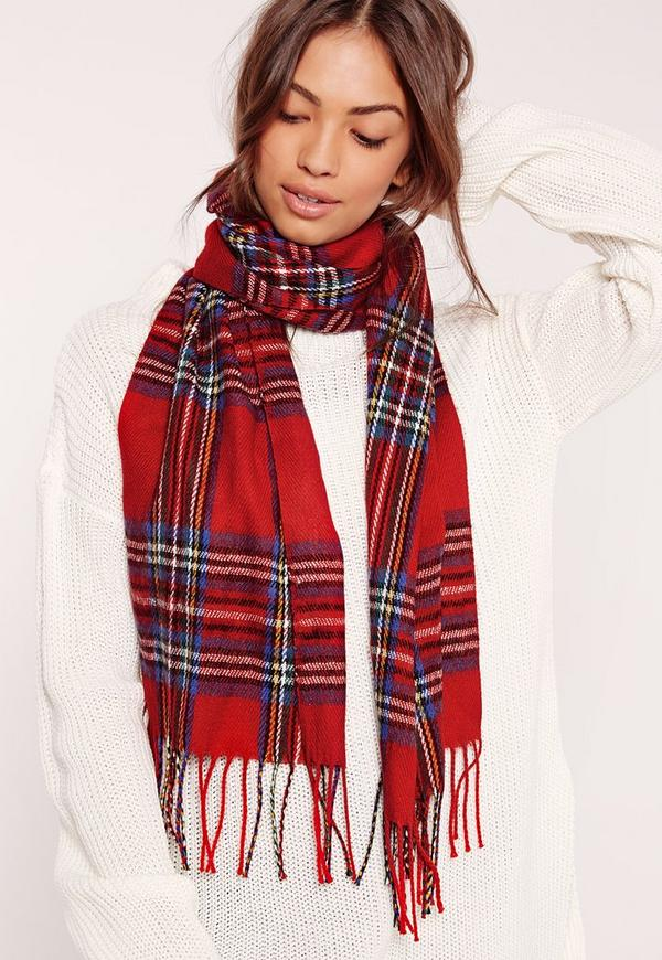 Check School Scarf Red