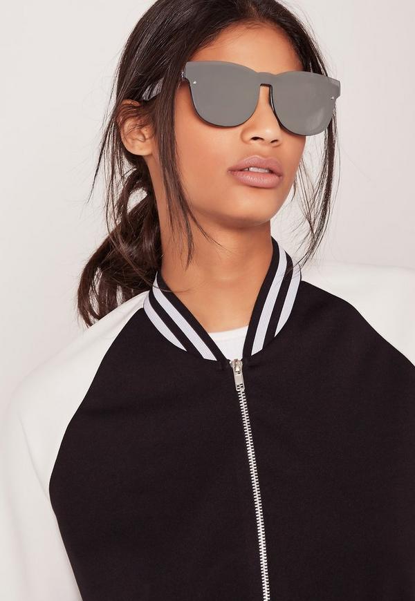 Flat Frame Reflective Sunglasses silver
