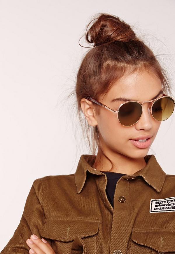 Rounded Edge Sunglasses Gold