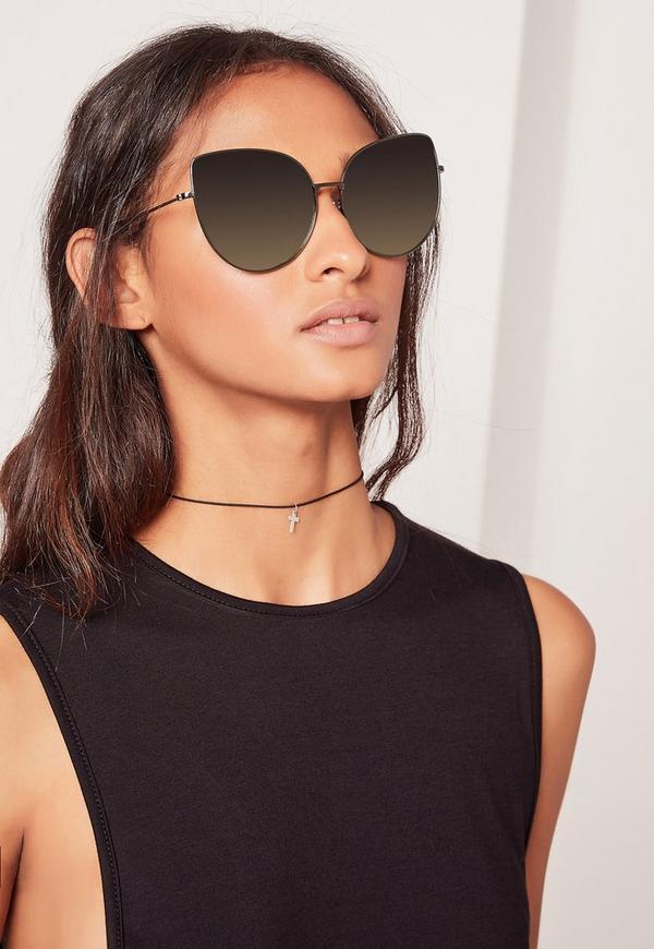 Cat Eye Oversized Sunglasses Black