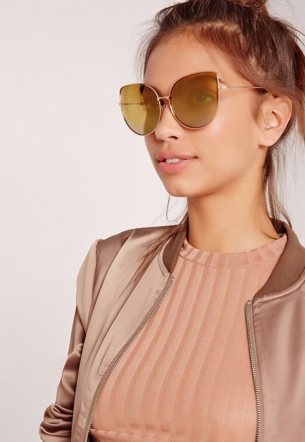 Cat Eye Oversized Sunglasses Gold