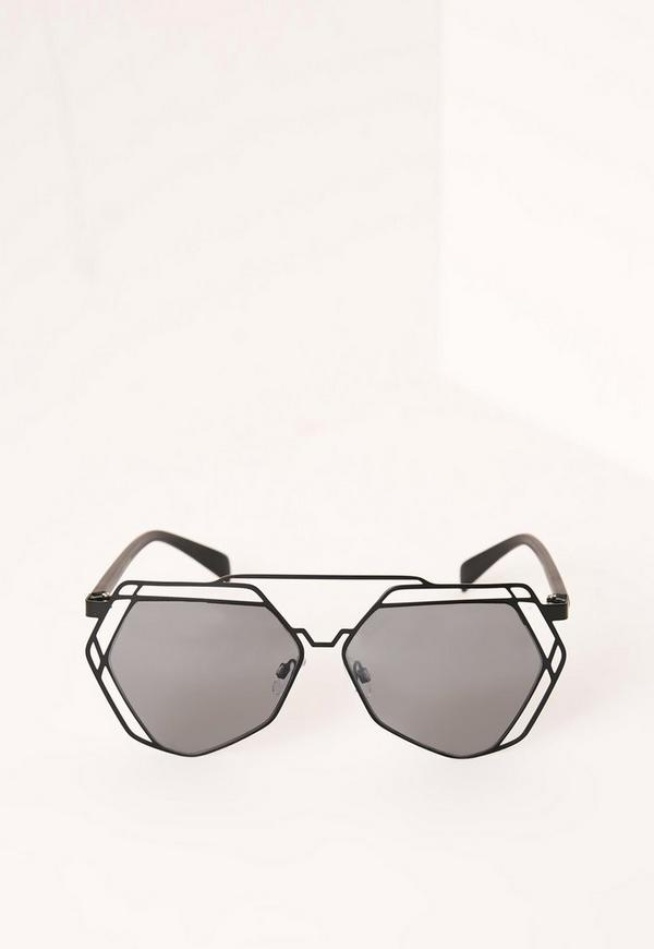 Geometric Frame Mirror Lens Sunglasses Black