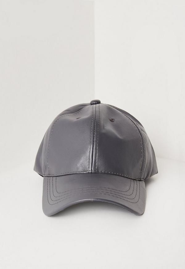 faux leather baseball cap grey