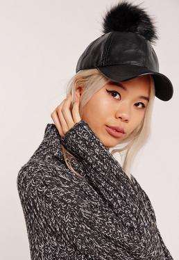 Faux Leather Pom Pom Hat Black