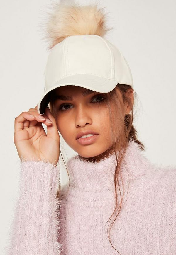Faux Leather Pom Pom Hat Cream