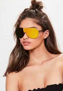 Orange Shield Oversized Mirrored Sunglasses