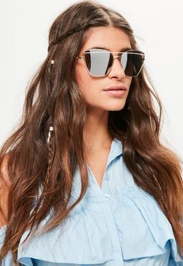Gafas de Sol con Montura Geométrica en Dorado