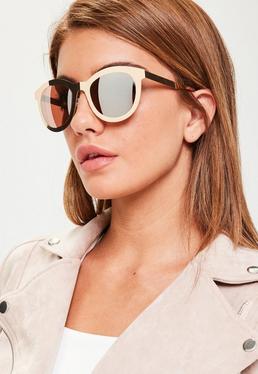 Okulary przeciwsłoneczne w metalowych oprawkach w kolorze różowego złota