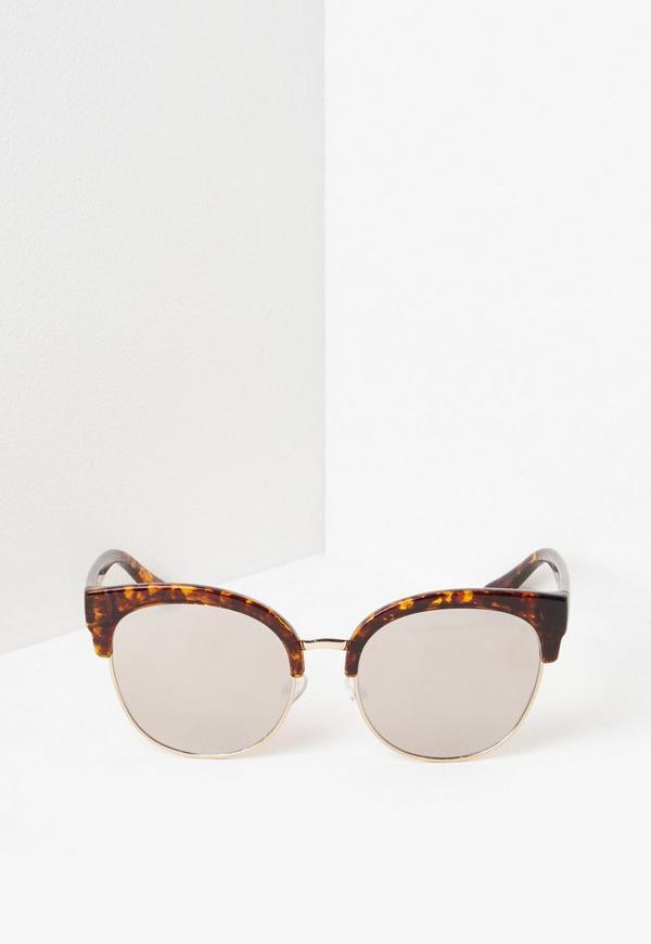 Gold Half Frame Sunglasses Missguided