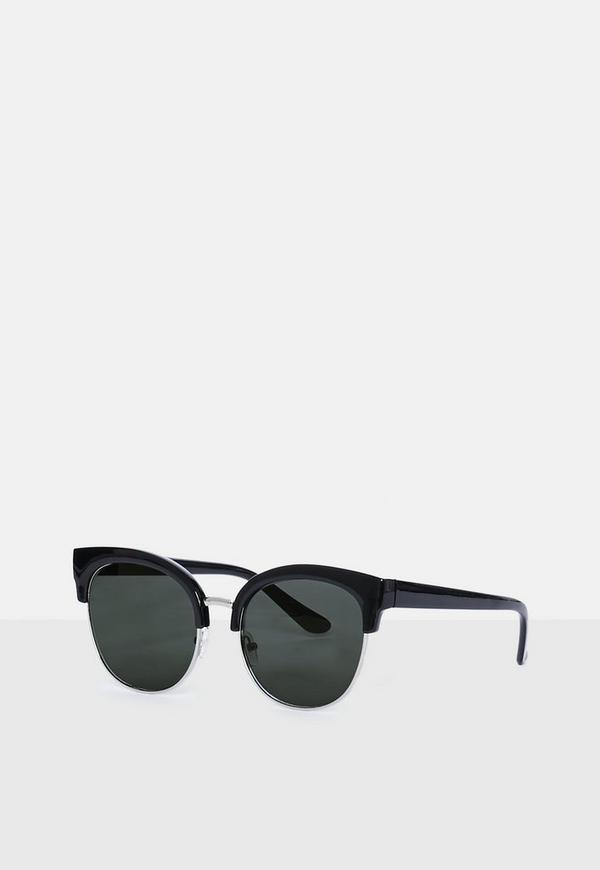 Black Half Frame Sunglasses Missguided Australia