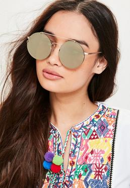 Gold Flat Top Bar Round Sunglasses