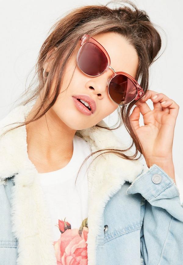 Pink Metal Detail Cat Eye Sunglasses