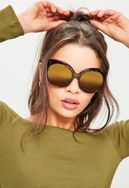 Oversized Sonnenbrille in Braun-Meliert