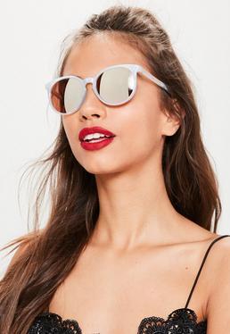 Club Sonnenbrille mit transparentem Gestell im Perlmutt-Design in Silber