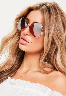 Przeciwsłoneczne okulary pilotki w kształcie odwróconych serc w kolorze różowego złota